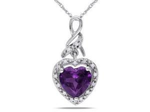 Amour 10k White Gold 2.27ct TGW Created Alexandrite and 0.06ct TDW Diamond Heart Pendant with Chain (G-H, I2-I3) (17in)