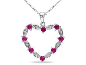 Amour Sterling Silver 1 1/3ct TGW Created Ruby and 0.04ct TDW Diamond Heart Pendant with Chain (G-H, I2-I3) (18in)