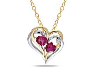 Amour Two-tone Silver 1 1/5ct TGW Created Ruby and 0.02ct TDW Diamond Heart Pendant with Chain (G-H, I2-I3) (18in)