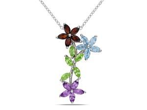 Amour Sterling Silver 3 1/7ct TGW Multi-Gemstone Flower Pendant with Chain (18in)