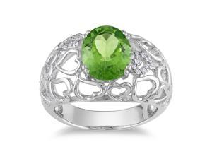 Amour Sterling Silver 2 1/3ct TGW Peridot and 0.06ct TDW Diamond Ring (G-H, I3)