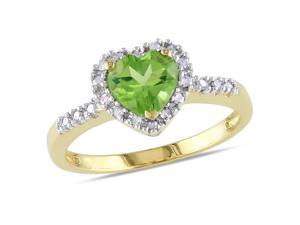 Amour 10k Yellow Gold 4/5ct TGW Peridot and 1/10ct TDW Diamond Heart Ring (G-H, I2-I3)