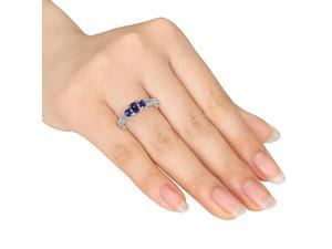 Amour 10k White Gold 1ct TGW Created Blue Sapphire and 1/8ct TDW Diamond Three Stone Ring (G-H, I2-I3)