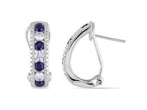 Amour Sterling Silver 2ct TGW Created Blue and White Sapphire Stud Earrings