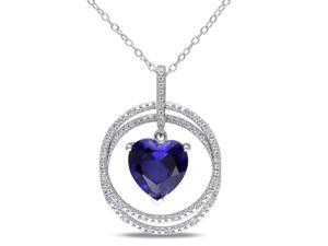 Amour Sterling Silver 4 1/2ct TGW Created Blue Sapphire and 1/10ct TDW Diamond Heart Pendant with Chain (G-H, I2-I3) (18in)