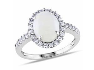 Amour 10k White Gold 2 1/4ct TGW Opal and Created White Sapphire Ring