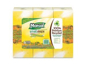 Marcal 4034 Recycled White Facial Tissue in Fluff-Out Boutique Box, 80/Box, 6 Boxes/Pack