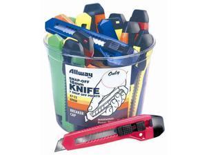 Allway Tools 25 Piece 18MM Snap-Off Neon Knife Bucket  K7-25 - Pack of 25