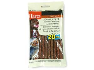 Hartz 20 Pack Dental Hickory Beef Flavored Rawhide Munchy Sticks  97104