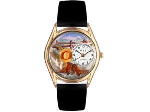 Ranch Black Leather And Goldtone Watch #C0110005