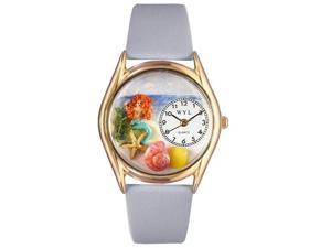 Mermaid Baby Blue Leather And Goldtone Watch #C1210011