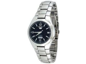 Seiko 5 Black Dial Stainless Steel Mens Watch SNK623