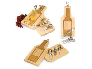 Picnic Time 846-00-505 Silhouette Bottle Shaped Two Toned Wooden Cheese Board With Wine and Cheese Tools
