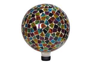 Alpine Corp GRS112 10 in. Mosaic Gazing Ball - Red/Blue/Yellow