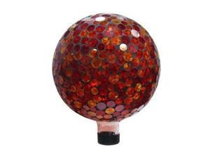 Alpine Corp GRS118 10 in. Mosaic Gazing Ball - Red/Yellow