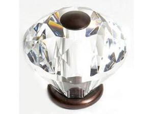 JVJHardware 36512 Pure Elegance 30mm - 1.19 in. - Diamond Cut 31 Percent Leaded Crystal Knob - Old World Bronze
