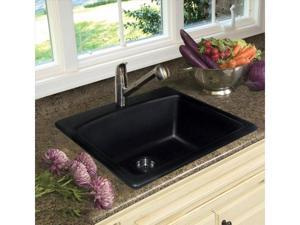 Franke Kindred 25in. X 22in. X 9in. Black Composite Granite Single Basin Top Mount Kit