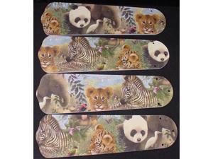 Ceiling Fan Designers 42SET-KIDS-BSELZ Baby Safari Elephant Lion Zebra 42 in. Ceiling Fan Blades Only