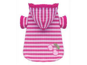 Hip Doggie HD-2PSCH-XL Extra Large Pink Stripe Cherry Hoodie