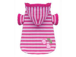 Hip Doggie HD-2PSCH-XS Extra Small Pink Stripe Cherry Hoodie