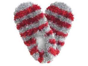 Red Carpet Studios 60095 Fuzzy Footies - Adult - Scarlet-Grey Striped