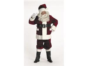 Halco 5696 Burgundy Deluxe Santa Suit with Outside Pockets- Size 50-56 jacket up to 56 waist