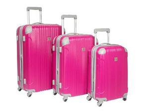Travelers Choice BH6800R Beverly Hills Country Club Malibu 3-Piece Hardside Spinner Luggage Set - Magenta