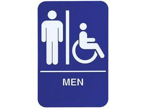 Update International S69B-2BL 6 in. x 9 in. Men-Accessible Braille Sign - White On Blue