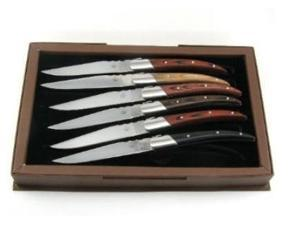 SCIP SR-1027A SR Laguiole Steak Knives with Assorted Wood Handle - Set of 6