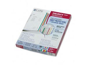 C-Line 62000 Poly Sheet Protectors Letter  Edge Strip in Five Colors  50/box