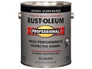 Rustoleum 1 Gallon Gloss Black High Performance Protective Enamel Low VOC 242253 - Pack of 2