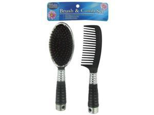 Bulk Buys BE283-96 Black Plastic Brush and Comb Set - Pack of 96