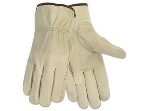 Crews 3215M Economy Leather Driver Gloves, Medium, Cream