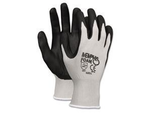 Crews 9673L Economy Foam Nitrile Gloves, Large, Gray/Black, Dozen