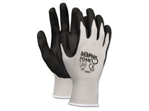 Crews 9673M Economy Foam Nitrile Gloves, Medium, Gray/Black, Dozen