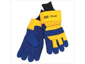 North Safety 068-70/6465NK Mens North Polar Ins Glove Blue Lthr W-Ylw Back