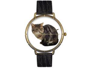 American Shorthair Cat Black Leather And Goldtone Photo Watch #N0120035
