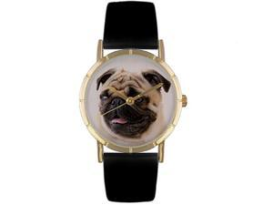 Pug Black Leather And Goldtone Photo Watch #P0130061