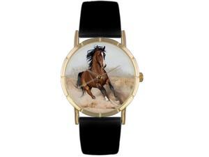 Arabian Horse Black Leather And Goldtone Photo Watch #P0110023
