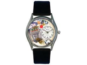 Whimsical Watches S0420002 Casino Black Leather And Silvertone Watch
