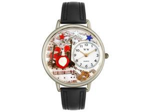Whimsical Watches U0510005 Drums Black Padded Leather And Silvertone Watch
