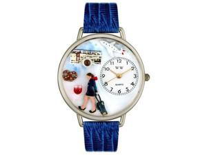 Whimsical Watches U0610007 Flight Attendant Royal Blue Leather And Silvertone Watch