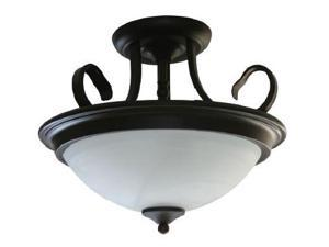 Efficient Lighting EL-803-218 Traditional Family Semi Flush Ceiling Light  Oil Rubbed Bronze Finish with Alabaster Glass  Energy Star Qualified