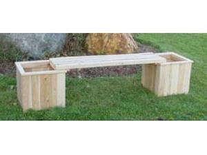All Maine Bucket D097 Two 16 Inch Cube Planters with One Bench