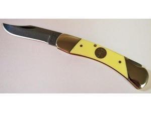 BearSons 3-3/4 Inch Yellow Delrin Med. Lockback Knife
