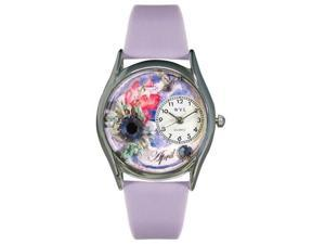 Whimsical Watches S0910004 Birthstone: April Red Leather And Silvertone Watch