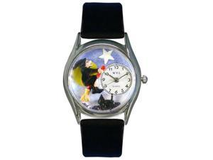 Whimsical Watches S1220009 Halloween Flying Witch Black Leather And Silvertone Watch