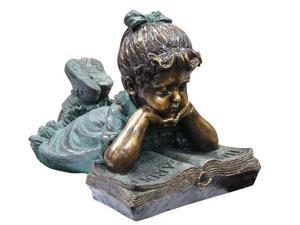 Alpine Corp GXT268 Girl Laying Down Reading Book Statue
