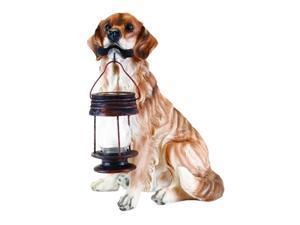 Garden Sun Light B5190A Golden Retriever Dog With Lantern Solar Light - Tan-Brown