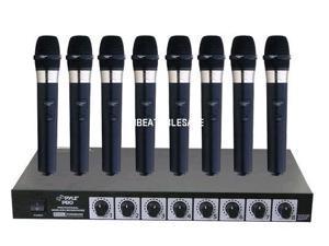 PylePro PDWM8400 8 Mic Professional Handheld VHF Wireless Microphone System